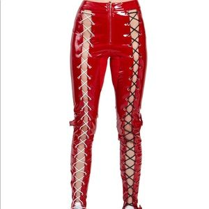 Lace up latex pants